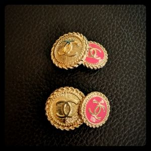 Upcycled Chanel Gold and Pink Cufflinks